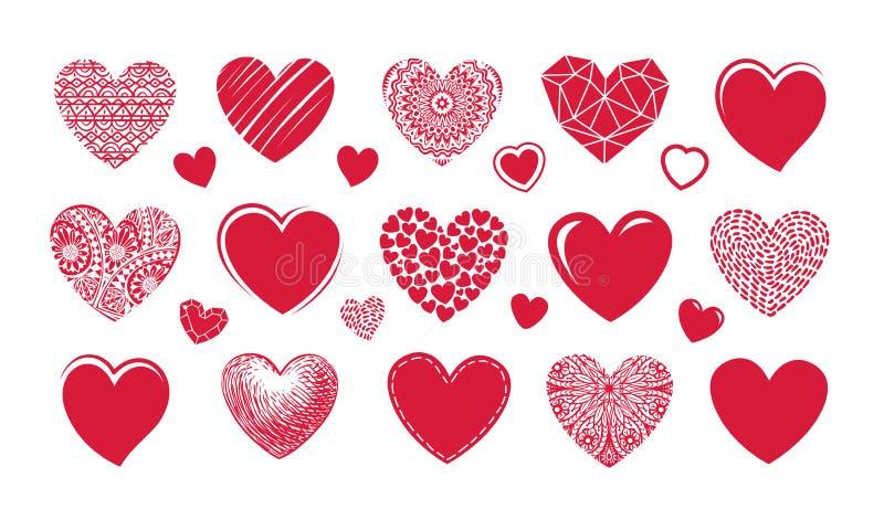 红色心脏商标,标签 设置象或标志在爱题材  向量例证