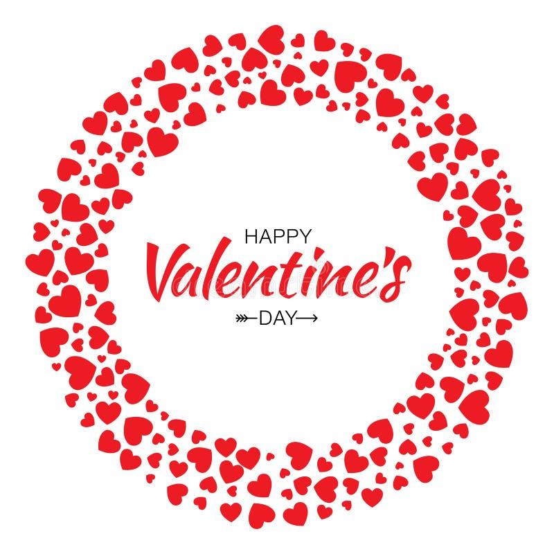 红色心脏圈子框架情人节设计传染媒介卡片背景 库存例证