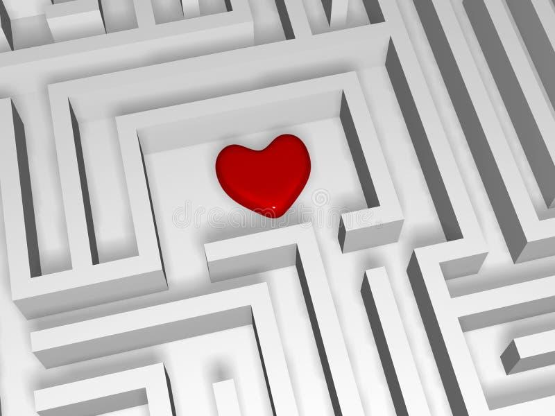 红色心脏在迷宫的中心 库存例证