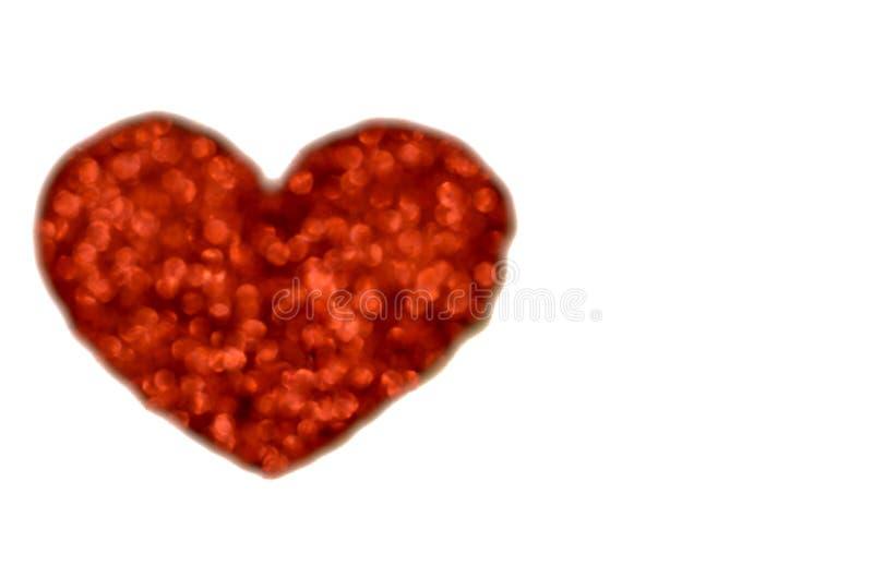 红色心脏爱形状bokeh 库存图片