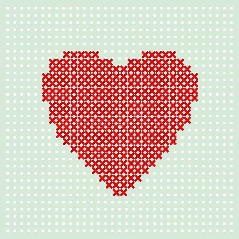 红色心脏由在绿松石背景的螺纹绣 发怒缝在帆布 皇族释放例证