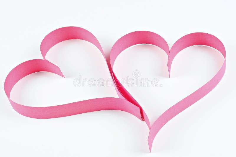 红色心脏由纸制成;情人节概念 免版税库存图片