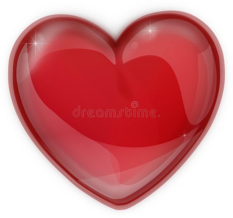 红色心脏由玻璃象制成一个情人节 库存照片