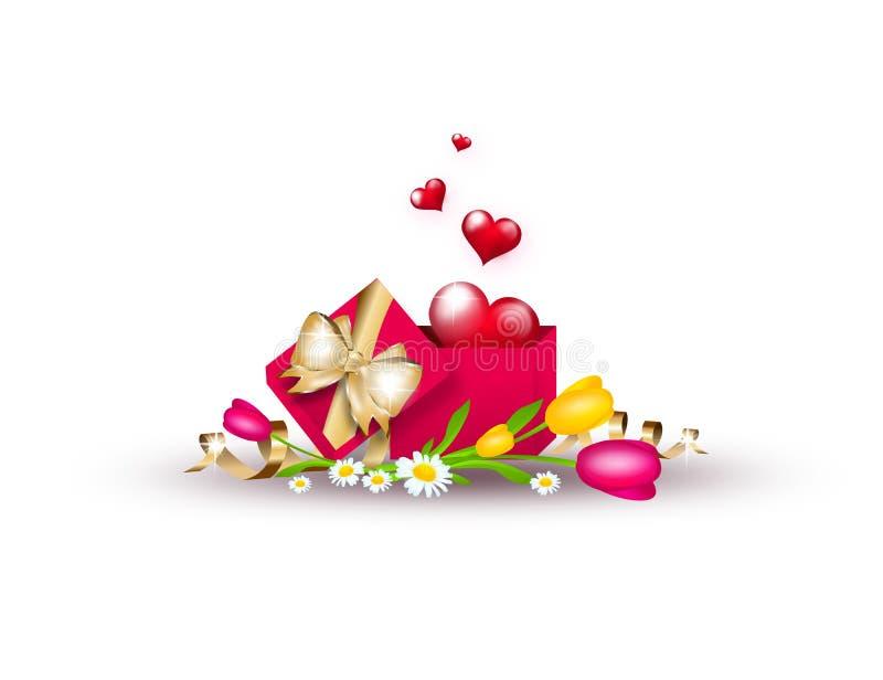 红色心脏的剪贴美术例证在箱子的 皇族释放例证