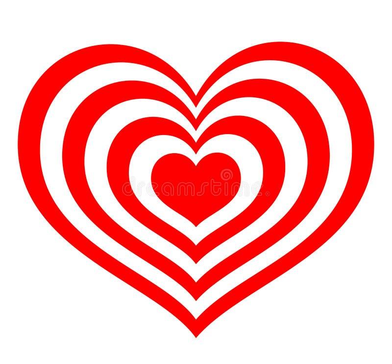 以红色心脏的形式目标 库存例证