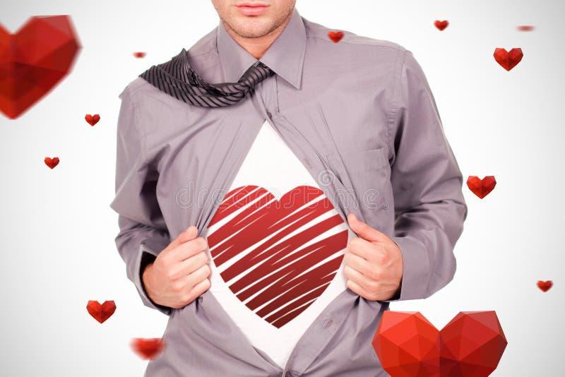 红色心脏的综合图象 图库摄影