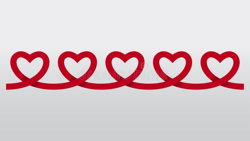 红色心脏纸链子保险开关传染媒介背景 皇族释放例证