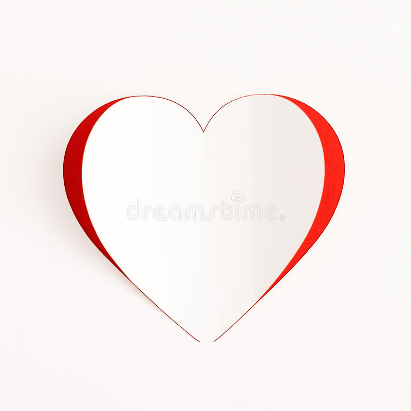 红色心脏纸贴纸卡片 图库摄影