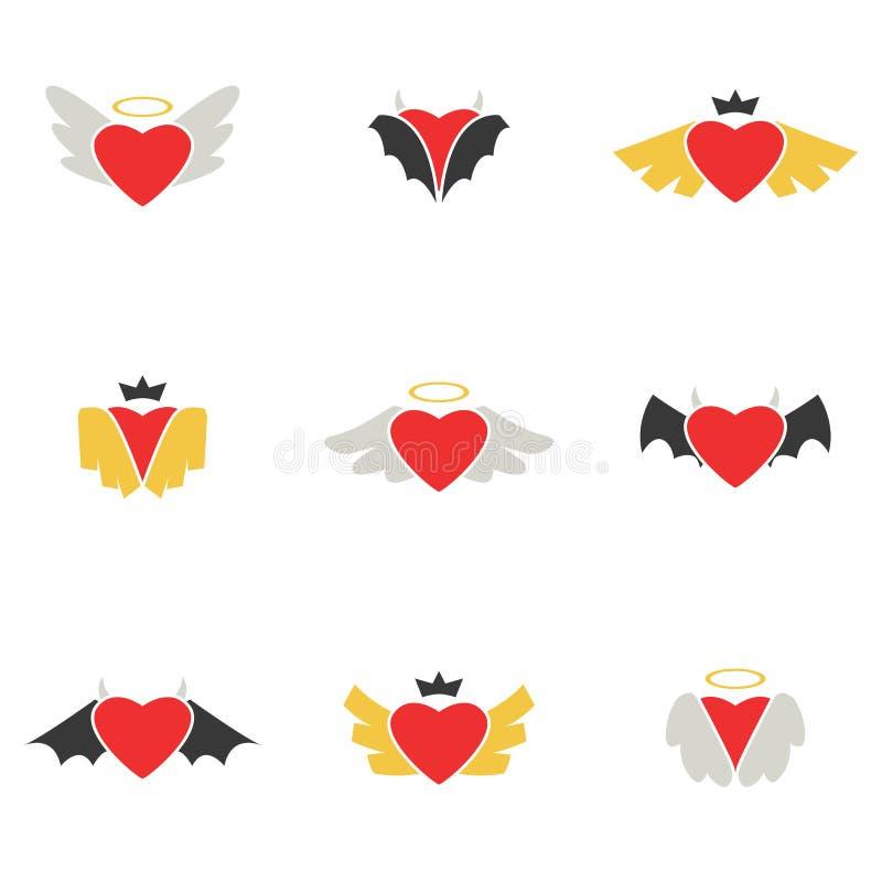 红色心脏翼与天使恶魔和传染媒介国王的- 向量例证