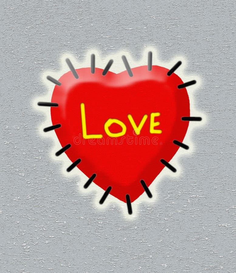 红色心脏被缝合变成银色背景 库存图片