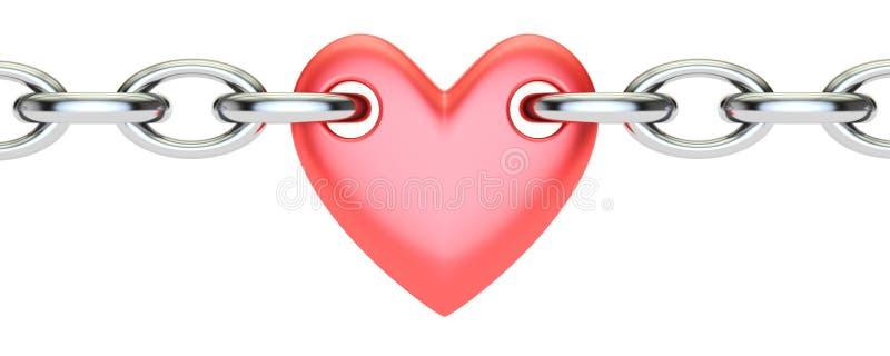 红色心脏被连接的链子, 3D翻译 向量例证
