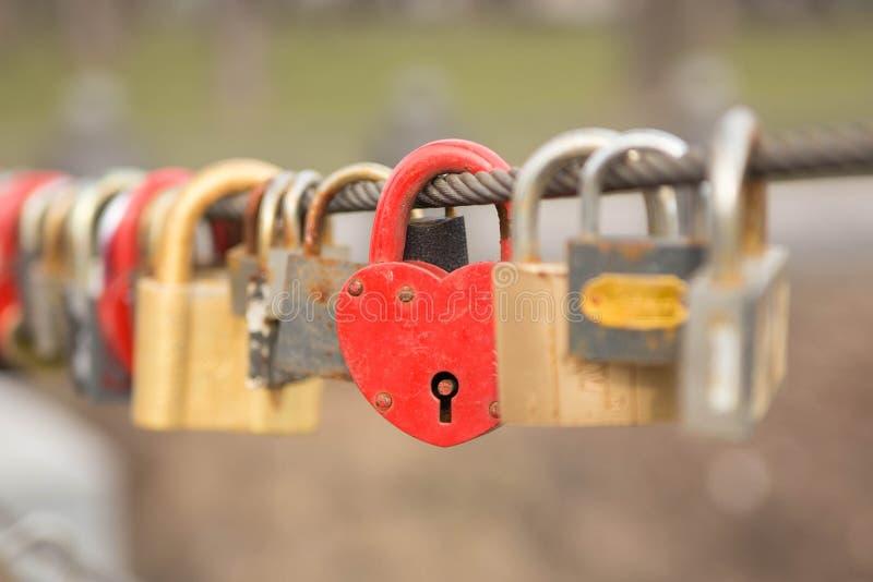 红色心脏锁拉丁文的爱 库存照片