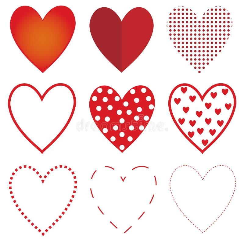 红色心脏集合 库存例证