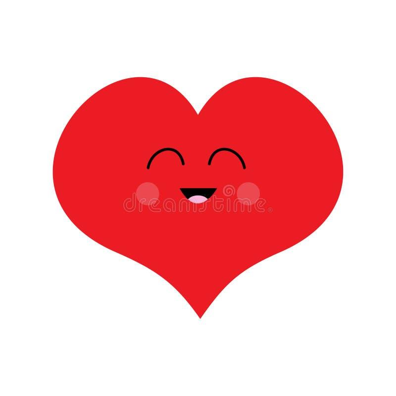 红色心脏面孔滑稽的头 逗人喜爱的动画片kawaii微笑的字符 眼睛,嘴,脸红面颊 愉快的情人节标志标志 平面 皇族释放例证