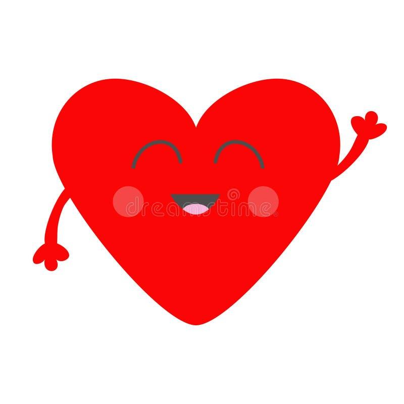 红色心脏面孔头用手 逗人喜爱的动画片kawaii微笑的字符 情人节标志标志 平的设计样式 问候汽车 皇族释放例证