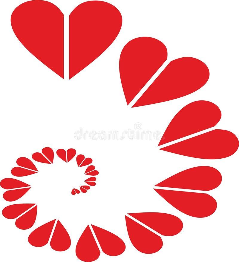 红色心脏ribbion商标、传染媒介和例证 皇族释放例证