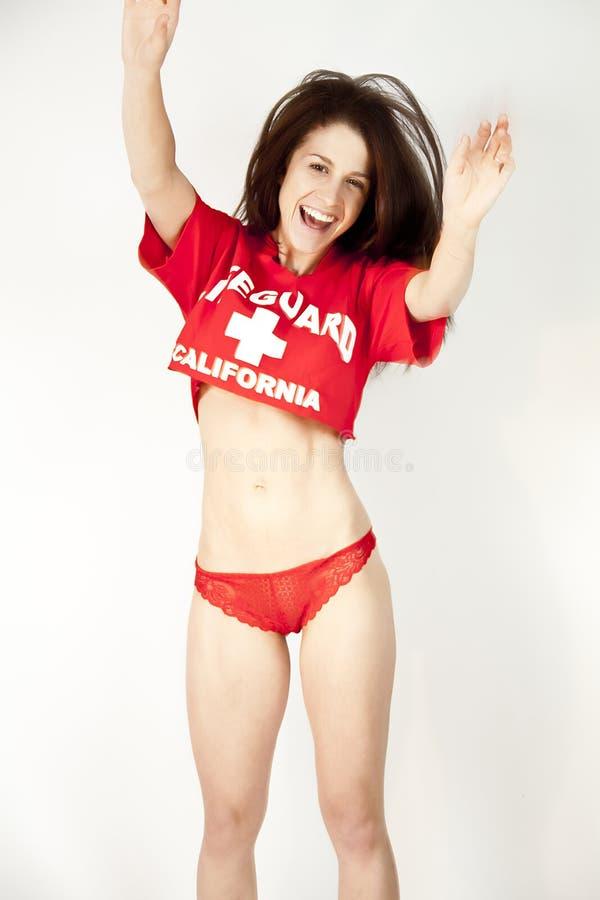 红色性感的衬衣t妇女 库存照片