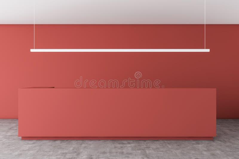红色总台在红色办公室 向量例证