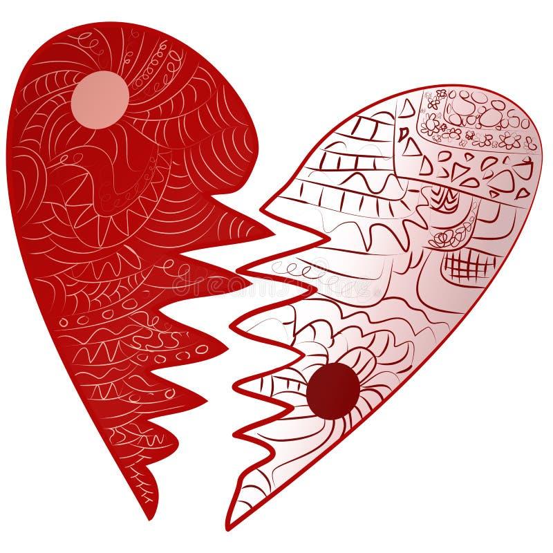 红色情人节伤心被画的Zentangle样式 皇族释放例证