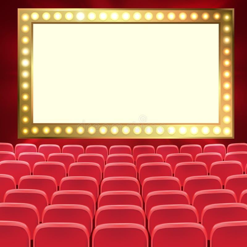 红色戏院或剧院位子行在黑黑屏前面的 有红色位子的宽空的电影院观众席 ?? 向量例证