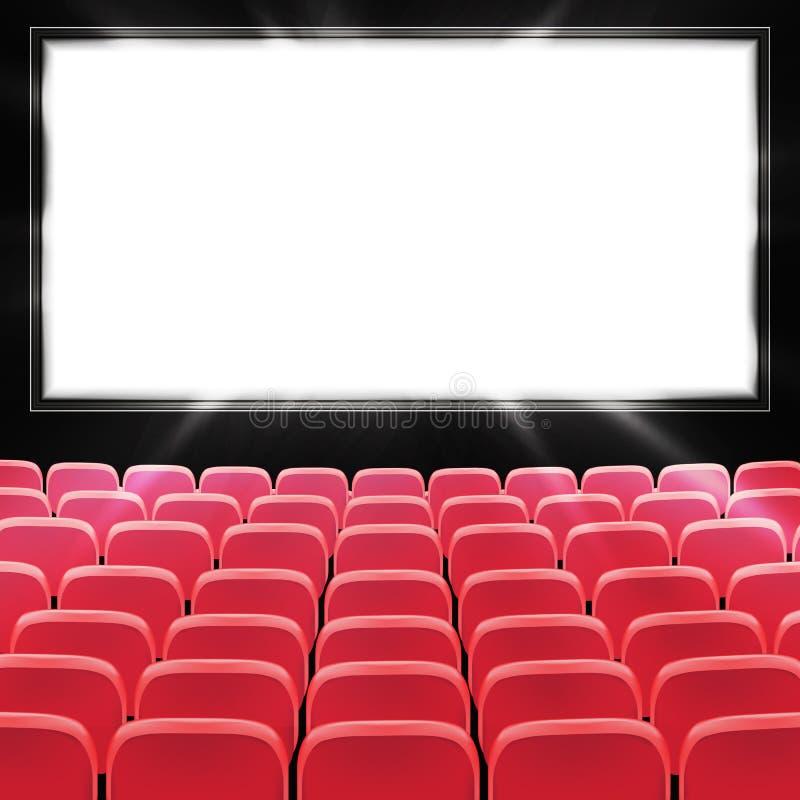 红色戏院或剧院位子行在黑黑屏前面的 有红色位子的宽空的电影院观众席 ?? 皇族释放例证
