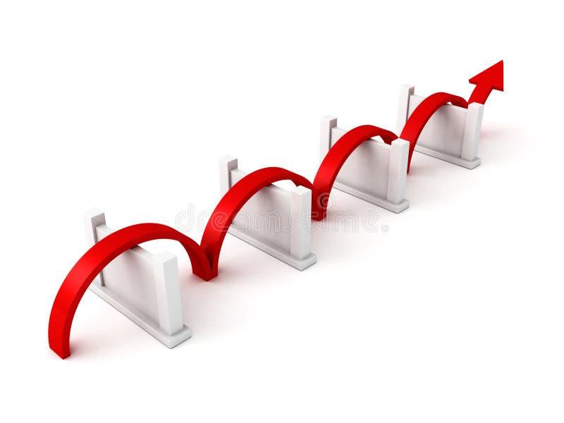 红色成功箭头克服障碍 库存例证