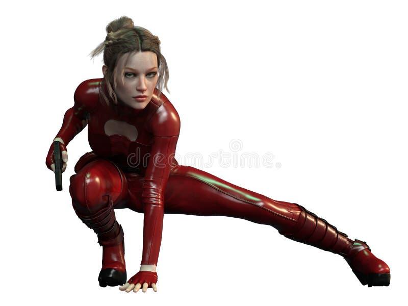 红色成套装备的CGI女性刺客 库存例证