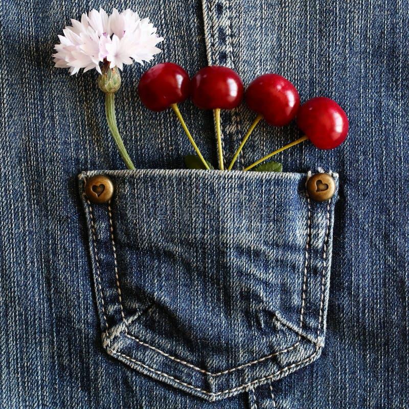 红色成熟樱桃 库存图片