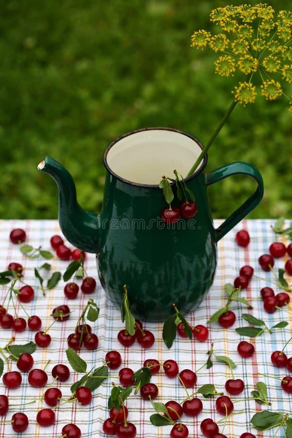 红色成熟樱桃 图库摄影