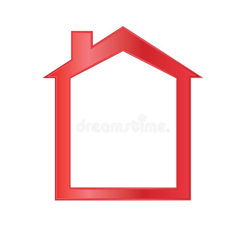 红色房子图标 皇族释放例证