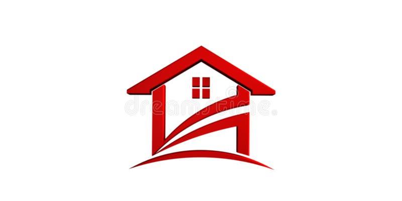红色房子图标 3d例证回报 皇族释放例证