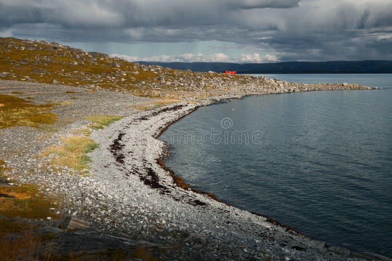 红色房子在挪威 库存图片