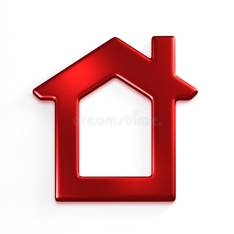 红色房子 截去容易的编辑文件例证的3d包括了路径翻译 库存例证