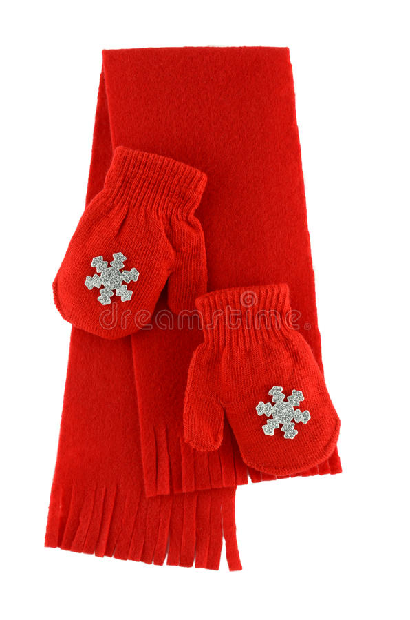 红色手套和围巾 免版税图库摄影