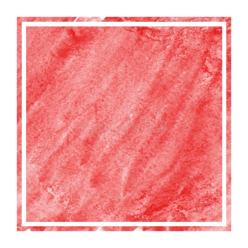 红色手拉的与污点的水彩长方形框架背景纹理 免版税库存图片