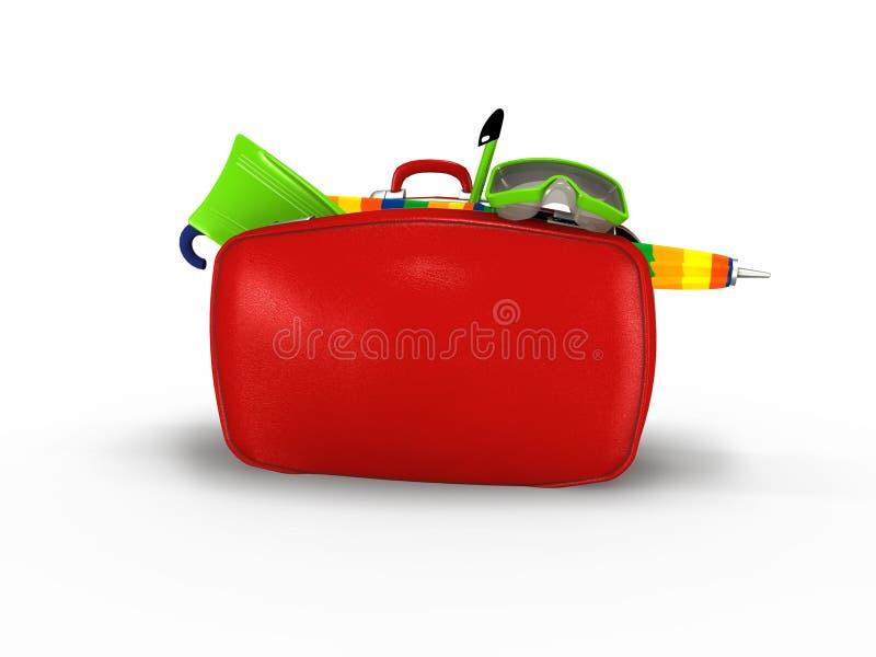 红色手提箱 库存例证
