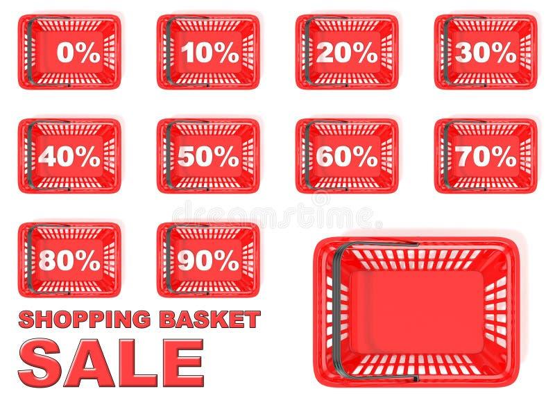 红色手提篮销售标记的汇集 折扣标志 库存例证