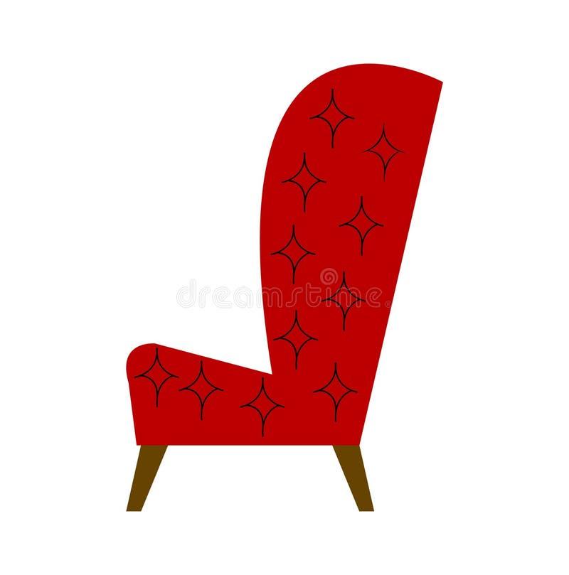 红色扶手椅子平的动画片传染媒介例证 库存例证