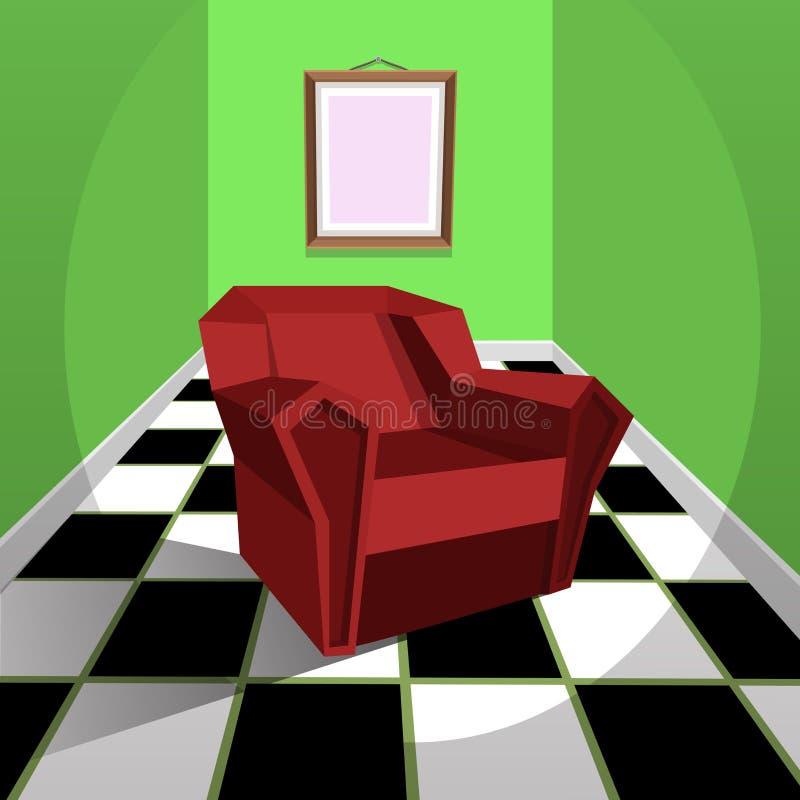 红色扶手椅子 皇族释放例证