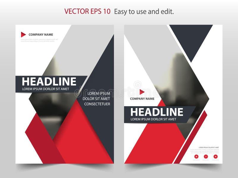 红色抽象三角小册子年终报告设计模板传染媒介 企业飞行物infographic杂志海报 向量例证
