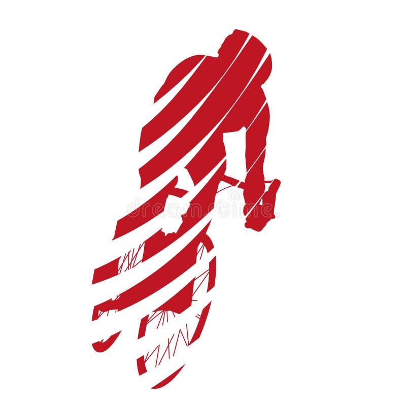 红色抽象传染媒介路骑自行车者 库存例证