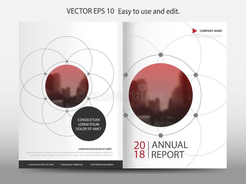 红色抽象圈子几何年终报告小册子设计模板传染媒介 企业飞行物infographic杂志海报 库存例证