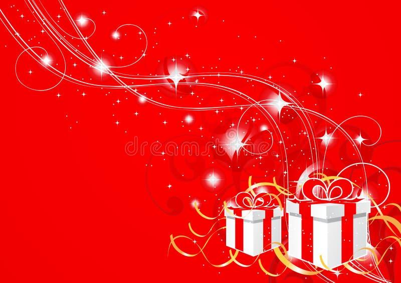 红色抽象圣诞节的礼品 皇族释放例证