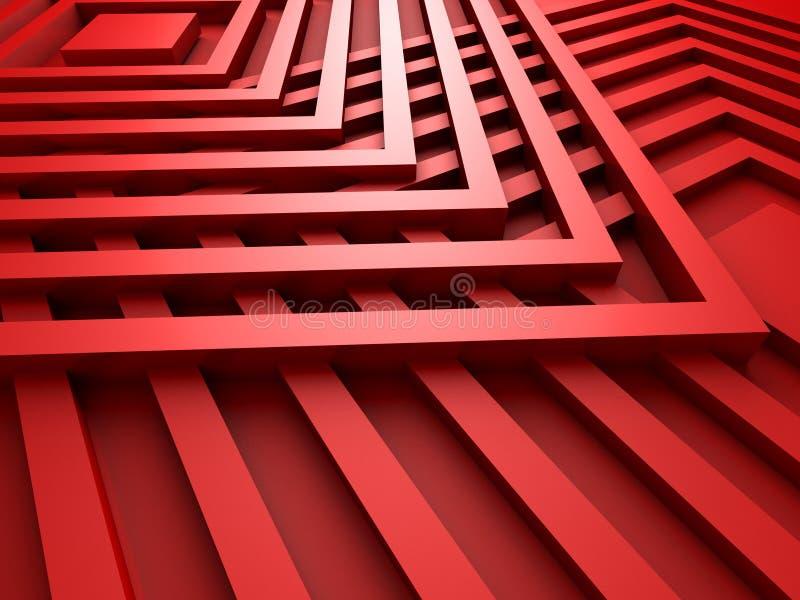 红色抽象正方形设计背景 向量例证