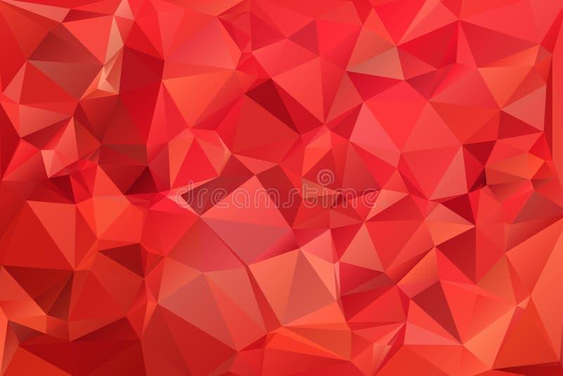 红色抽象背景多角形。 免版税库存照片
