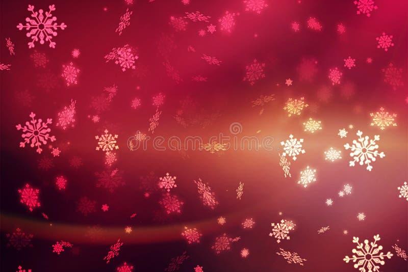 红色抽象背景,雪花 圣诞节背景,圣诞节 免版税库存照片