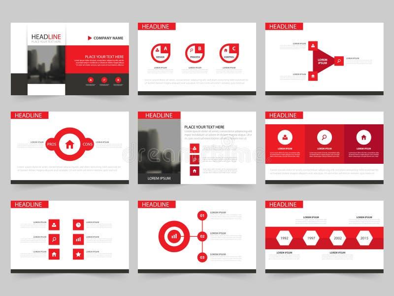 红色抽象介绍模板, Infographic元素模板平的设计为年终报告小册子飞行物传单市场设置了 皇族释放例证