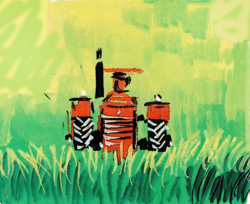 红色拖拉机手拉在绿色领域 向量例证