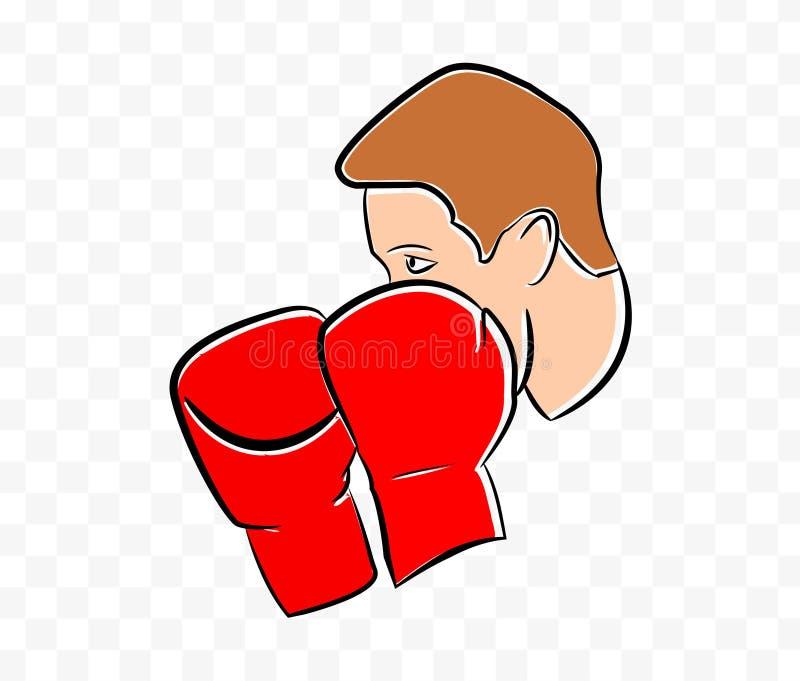 红色拳击手套商标传染媒介例证 向量例证