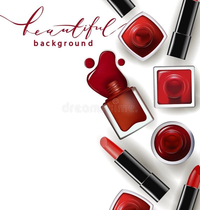 红色指甲油下降与红色唇膏 模板 皇族释放例证